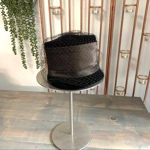 Vintage Black Velvet & Satin Cloche Hat